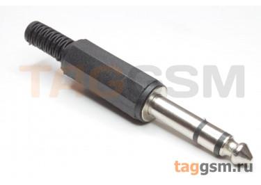 NP-205-EN Штекер аудио 6,3мм стерео на кабель (Черный)