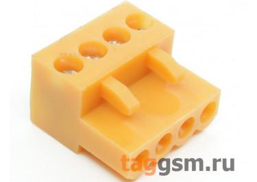 HT396K-3.96-04P (Оранжевый) Разъемный клеммник на кабель 4 конт. шаг 3,96мм 150В 8А