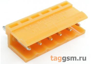 HT396V-3.96-06P (Оранжевый) Разъемный клеммник на плату 6 конт. шаг 3,96мм 150В 8А