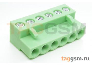 HT508K-5.08-06P (Зеленый) Разъемный клеммник на кабель 6 конт. шаг 5,08мм 150В 8А