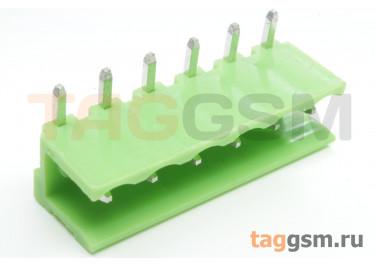 HT508R-5.08-06P (Зеленый) Разъемный клеммник на плату угловой 6 конт. шаг 5,08мм 150В 8А