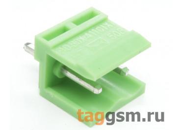 HT508V-5.08-02P (Зеленый) Разъемный клеммник на плату 2 конт. шаг 5,08мм 150В 8А