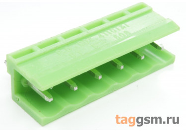 HT508V-5.08-06P (Зеленый) Разъемный клеммник на плату 6 конт. шаг 5,08мм 150В 8А