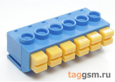 LF390-5.0-06P (Синий) Нажимной клеммник на плату 6 конт. шаг 5мм 300В 8А