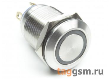 QN12-C1  / Green Антивандальная кнопка на панель с подсветкой 6В без фиксации OFF-(ON) SPST 36В 2А 12мм (Зеленый)