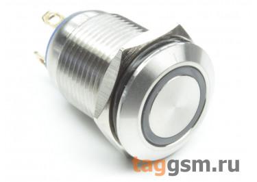 QN12-C1  / Blue Антивандальная кнопка на панель с подсветкой 6В без фиксации OFF-(ON) SPST 36В 2А 12мм (Синий)