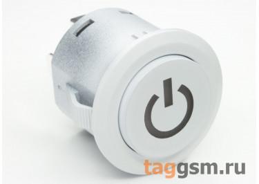 LA22-A2  / Blue Кнопка на панель с подсветкой 6В без фиксации OFF-(ON) SPST 250В 10А 22мм (Синий)
