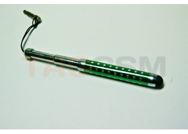 Стилус для Apple / HTC тепловой 3 колена со стразами и креплением в разъём гарнитуры S018 (зелёный)