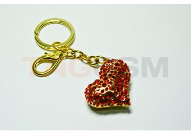 """Брелок большой для ключей """"Сердце"""" со стразами"""