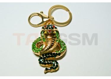 """Брелок большой для ключей """"Змея"""" со стразами"""