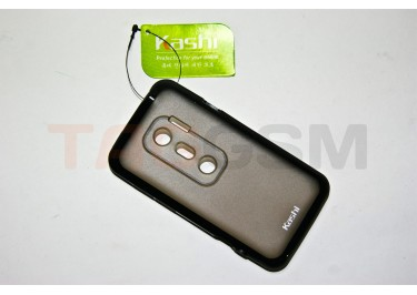 Задняя крышка KSH HTC EVO 3D силикон-пластик+защитная пленка черная