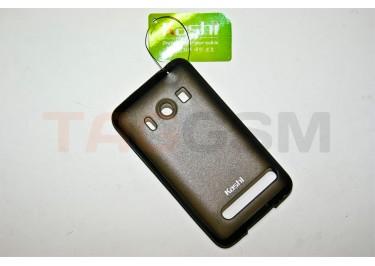 Задняя крышка KSH HTC EVO 4G силикон-пластик+защитная пленка черная