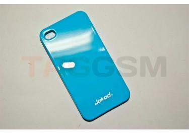 Задняя накладка Jekod для iPhone 4S (глянцевая голубая)