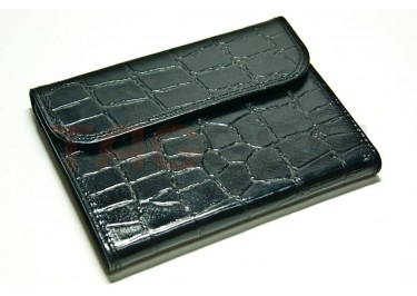 Сумка футляр-книга универсальная 5 дюймов кожа (крокодил чёрный)