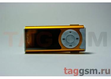 MP3 плеер-LCD+FM+внешний динамик (слот MicroSD+наушник+кабель для зар) золотистый (№4)