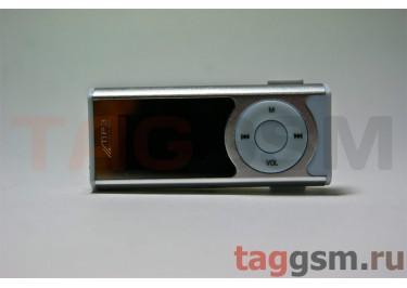 MP3 плеер-LCD+FM+внешний динамик (слот MicroSD+наушник+кабель для зар) серебристый (№4)
