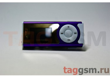 MP3 плеер-LCD+FM+внешний динамик (слот MicroSD+наушник+кабель для зар) фиолетовый (№4)