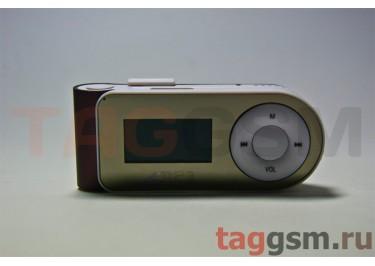 MP3 плеер-LCD+FM+внешний динамик (слот MicroSD+наушник+кабель для зар) кофейный (№5)