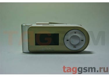 MP3 плеер-LCD+FM+внешний динамик (слот MicroSD+наушник+кабель для зар) серебристый (№5)