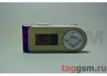 MP3 плеер-LCD+FM+внешний динамик (слот MicroSD+наушник+кабель для зар) фиолетовый (№5)