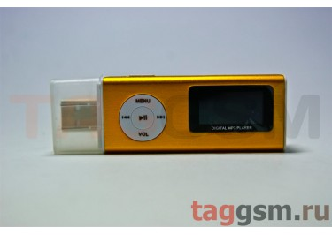 MP3 плеер-LCD+FM+USB+диктофон+ внешний динамик (MicroSD+науш+кабель) золотистый (№7)