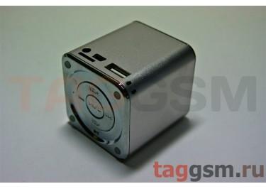 Колонки MD-07 (MicroSD+USB+FM) (серебро)