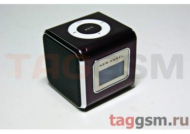 Колонка (MD-03-LCD) (Micro SD+USB+FM) (кофейная)