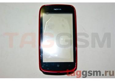 Тачскрин для Nokia 610 (пурпурный) в сборе с передней панелью и динамиком, оригинал