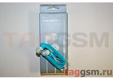 Гарнитура стерео для iPod / iPhone голубая капли с регулировкой громкости в коробке