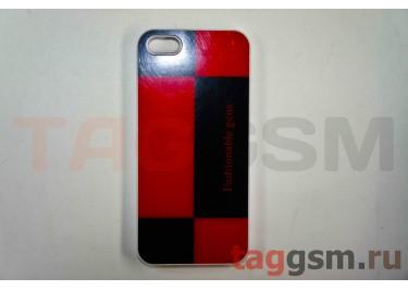 Задняя накладка Niorcase Fashionoble для iPhone 5(чёрно-красная)
