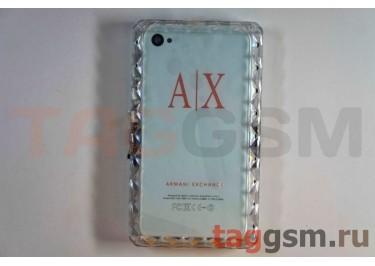 Задняя крышка IPhone ARMANI EXCHANCE 4G / 4S с отверткой белая