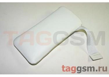 Чехол Premium для iPhone 5 с внутренним языком (кожа белая)
