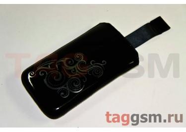 Сумка для Nokia 603 с внутренним языком чёрная с тиснением фольгой