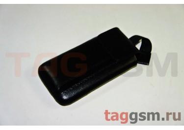 Сумка-клапан для Samsung S5230 с внутренним языком чёрная со вставкой