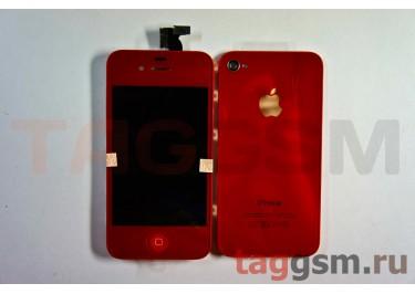 Дисплей для iPhone 4 + тачскрин + задняя крышка +кнопка Home (красный)