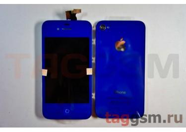 Дисплей для iPhone 4 + тачскрин + задняя крышка +кнопка Home (синий)