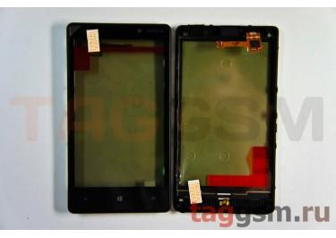 Тачскрин для Nokia 820 (черный) в сборе с передней панелью, ОРИГ100%