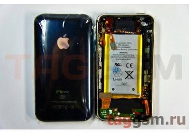 Задняя крышка для iPhone 3GS 32GB в сборе с хром.рамкой + разъем зарядки + разъем гарнит. + АКБ (черный)