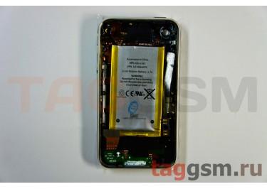 Задняя крышка для iPhone 3GS 16GB в сборе с хром.рамкой + разъем заряд + разъем гарн + АКБ (черный)