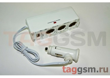 Разветвитель на 3 прикуривателя + USB 1000mA