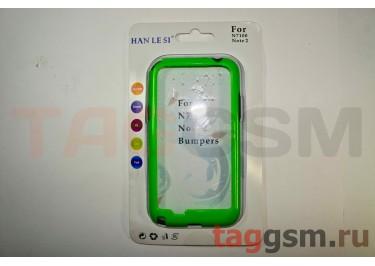 Бампер для Samsung N7100 Galaxy Note 2 (зелёный счёрной вставкой)