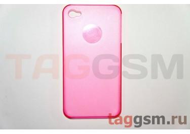 Задняя накладка ультра тонкая iPhone 4 / 4S пластикматовая красная