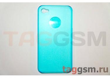 Задняя накладка ультра тонкая iPhone 4 / 4S пластикматовая синяя
