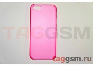 Задняя накладка ультра тонкая iPhone 5 пластик матовая красная