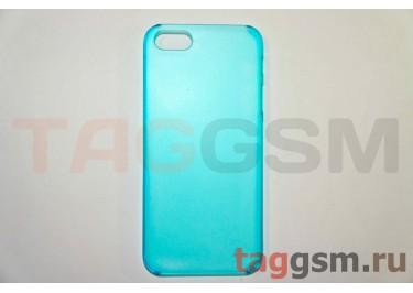 Задняя накладка ультра тонкая iPhone 5 пластик матовая синяя