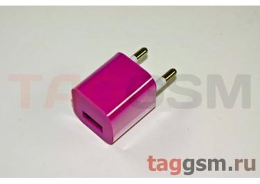 СЗУ для iPhone 4 (маленький блок питания ) 1000mAмалиновый