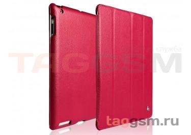 Чехол футляр-книга Jisoncase для iPad 3 / 4 (малиновый)