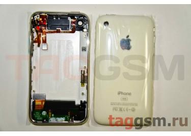 Задняя крышка для iPhone 3G 8GB в сборе с хром. рамкой + разъем зарядки + разъем гарнит. (белый)