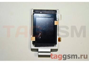 Дисплей для Sony Ericsson W380 с защитным стекломи частью корпуса (серебро), оригинал