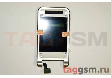 Дисплей для Sony Ericsson R306 с защитным стекломи частью корпуса (серебро), оригинал
